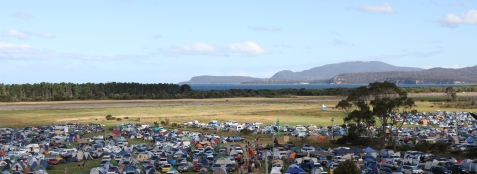 View of Marion Bay and camping areas at Falls Festival 2013